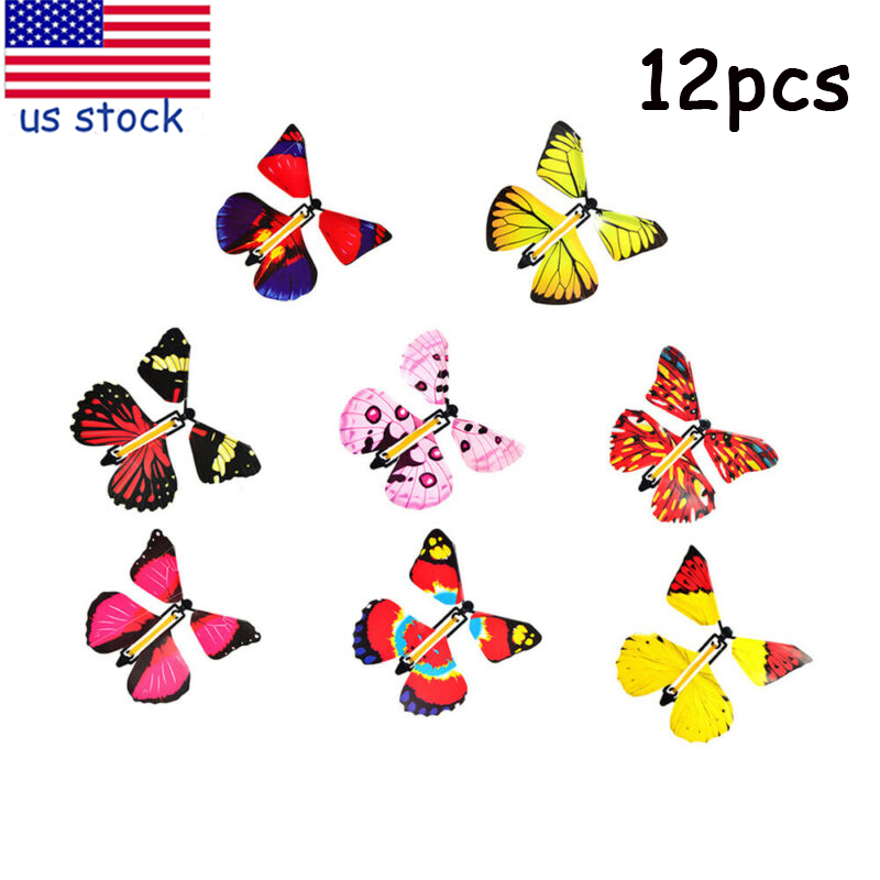12pcs Magic Butterflies Wind Up Fairy Flying in the Book Fun Toy for Toddlers
