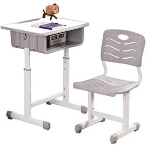 Kids Desks, Height Adjustable Children Desk and Chair Set, Childs School Student Sturdy Table with Pull Out Drawer Storage, Bookstand