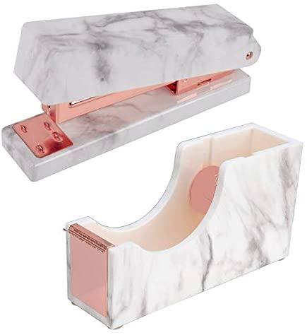2 Pack Marble White Office Supplies Set- Stapler|Tape Despenser Office School Desk Decor Accessories (Rose Gold)