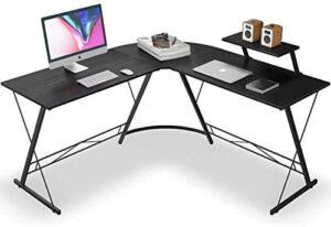 L Shaped Desk Home Office Desk with Round Corner Computer Desk with Large Monitor Stand Desk Workstation,Black