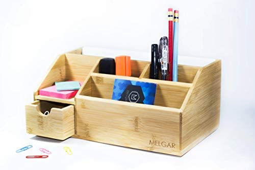 Melgar King Small Bamboo Wood Desk Organizer for Home, Office or College use – Holds Pens, Pencils, Remote Control, Mail, Supplies, Stationary Set. Great Gift for Friends, Family and Teens – Bamboo