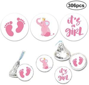 It's a Girl Chocolate Drop Label Stickers, Pink It's a Girl Baby Shower Favor Labels, Fits Hershey's Kisses Party Favors, Baby Shower Decorations, 0.75 Inches, Pack of 306