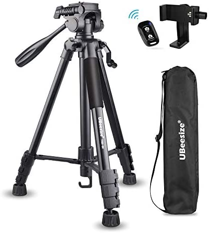 UBeesize 60-inch Camera Tripod, 5kg/11lb Load TR60 Load Portable Lightweight Aluminum Travel Tripod with Carry Bag & Bluetooth Remote, for DSLR SLR Cameras Compatible with iPhone & Android Phone