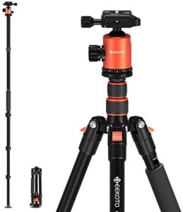 """GEEKOTO 77"""" Tripod, Camera Tripod for DSLR, Compact Aluminum Tripod with 360 Degree Ball Head and 8kgs Load for Travel and Work"""