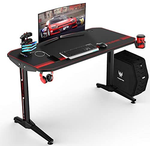 VIT 44 Inch Ergonomic Gaming Desk, T-Shaped Office PC Computer Desk with Full Desk Mouse Pad, Gamer Tables Pro with USB Gaming Handle Rack, Stand Cup Holder&Headphone Hook (44 inch, Black)