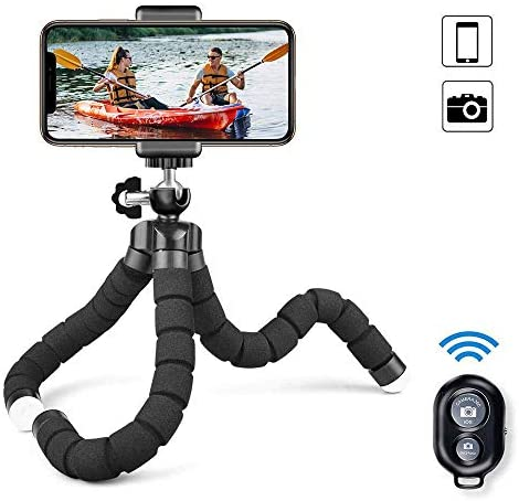 Phone Tripod, Camera Flexible Tripod with Bluetooth Remote and Universal Clip, 360° Adjustable Mini Travel Tripod Portable Camera Stand Holder for iPhone Android GoPro Selfie SLR Sports Camera