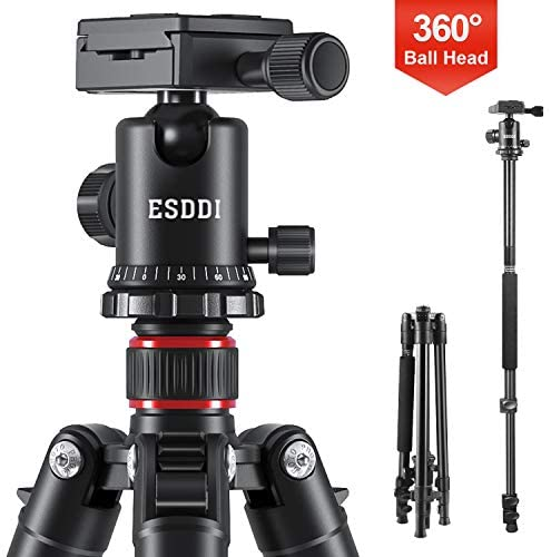 ESDDI Camera Tripod, DSLR Tripod with 360° Ball Head, 64″ Aluminum Tripod with Monopod 1/4″ Quick Release Plate and Phone Holder for Vlog,Travel and Work