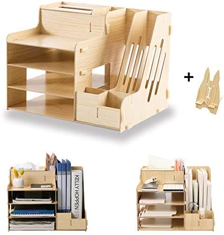 SUPANT Office Desk Organizer Set & Accessories, Multi-Functional DIY Pen Holder Box for Kid Men Women, Desktop Stationary, Paper Filer Trays Organization, Home Office Supply Storage Rack
