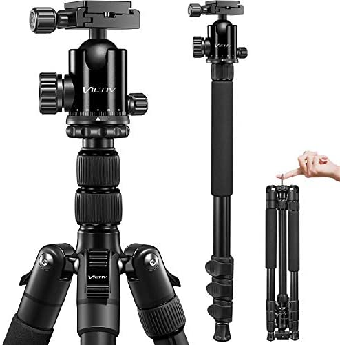 VICTIV Camera Tripod 81 inches Monopod, Aluminum Travel Tripod for DSLR, Lightweight Tripod Loads Up to 19 lbs with 360 Degree Ball Head and Carry Bag for Travel and Work – AT26 Black