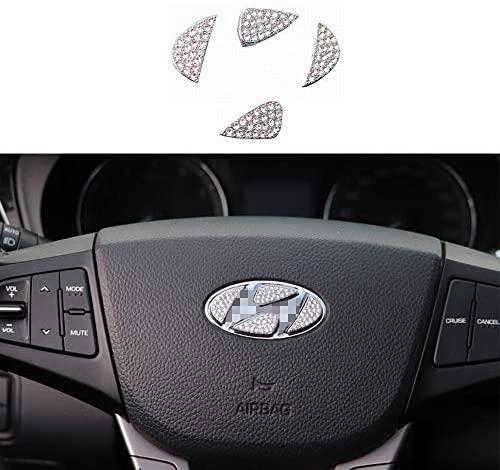 TopDall Steering Wheel Bling Crystal Shiny Diamond Accessory Interior Sticker for Hyundai
