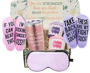 Breast Cancer Survivor Gifts Basket for Women – Chemo Survivor, Ovarian, Breast Cancer Awareness Gift – Cancer Warrior Gifts for Women – 20oz Tumbler, 2 Cancer Fighter Socks, Silk Sleep Mask