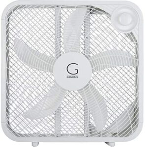 Genesis 20″ Box Fan, 3 Settings, Max Cooling Technology, Carry Handle, White