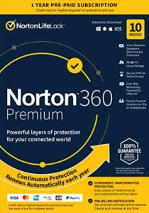 Norton 360 Premium – Antivirus Software for 10 Devices with Auto Renewal – Includes VPN, PC Cloud Backup & Dark Web Monitoring Powered by LifeLock [Key card]