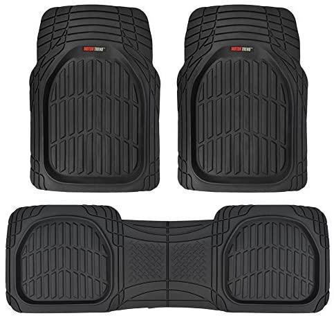 Motor Trend MT-923-BK Black FlexTough Contour Liners-Deep Dish Heavy Duty Rubber Floor Mats for Car SUV Truck & Van-All Weather Protection