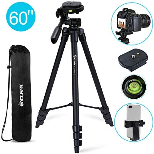 Endurax Camera Tripod Stand for iPhone Android Aluminum 60'' Travel SLR DSLR Tripod for Camera Canon Nikon with Universal Phone Mount, Bubble Level, Carry Bag, Max Load 6.6 Lbs