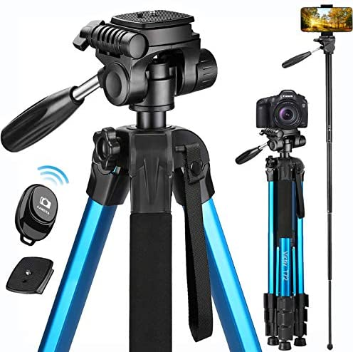Victiv 72-inch Camera Tripod Aluminum T72 Max Height 182cm- Lightweight Tripod & Monopod Compact for Travel with 3-way Swivel Head and 2 Quick Release Plates for Canon Nikon DSLR Video Shooting – Blue