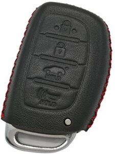 Coolbestda Genuine Leather Key Fob Cover Keyless Entry Holder Remote Case for 2018 2017 2016 Hyundai Tucson Elantra Sonata Smart 4Buttons (NOT FIT Flip/Pop Out/Folding Key Black