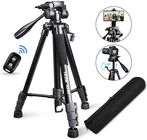 """Torjim 60"""" Camera Tripod with Carry Bag, Lightweight Travel Aluminum Professional Tripod Stand (5kg/11lb Load) with Bluetooth Remote for DSLR SLR Cameras Compatible with iPhone & Android Phone-Black"""