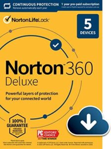Norton 360 Deluxe – Antivirus software for 5 Devices with Auto Renewal – Includes VPN, PC Cloud Backup & Dark Web Monitoring powered by LifeLock [Download]