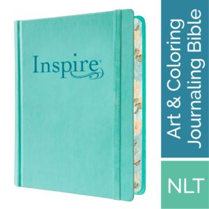 Tyndale NLT Inspire Bible (Hardcover, Aquamarine): Journaling Bible with Over 400 Illustrations to Color, Coloring Bible with Creative Journal Space – Religious Gift that Inspires Connection with God