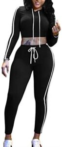 Pink Queen Womens 2 Piece Outfit Sport Bodycon Crop Top Long Pant Tracksuit