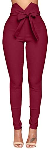 VEZAD Womens Skinny Pencil Pants High Waisted Ankle Length Leggings with Button Embellish