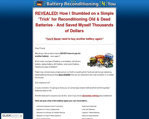 Battery Reconditioning 4 You – How To Recondition Death Batteries