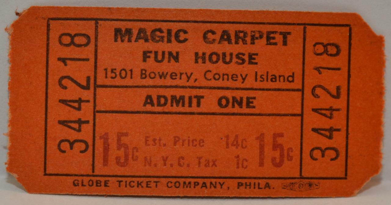 Lot of 15 1930s Coney Island Unused Globe Ticket Magic Carpet Fun House Playland