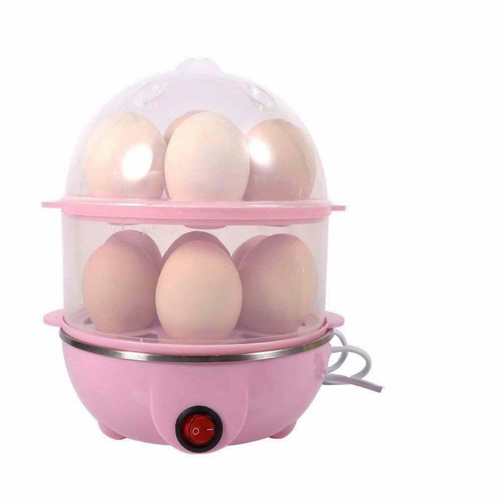 Double Layer Egg Boiler 14 Egg Electric Cooker Plastic Egg Steamer for Home Food