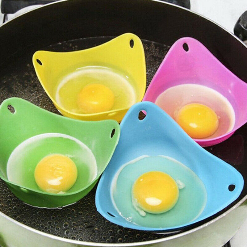 4pcs Silicone Egg Poaching Poach Cup Pods Mould Cook Microwave Egg Boiler Random