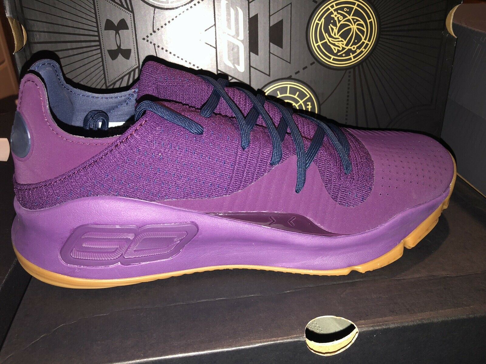 NIB Under Armour Curry 4 Low Men Purple Basketball Shoes Size 12.5 Free Shipping