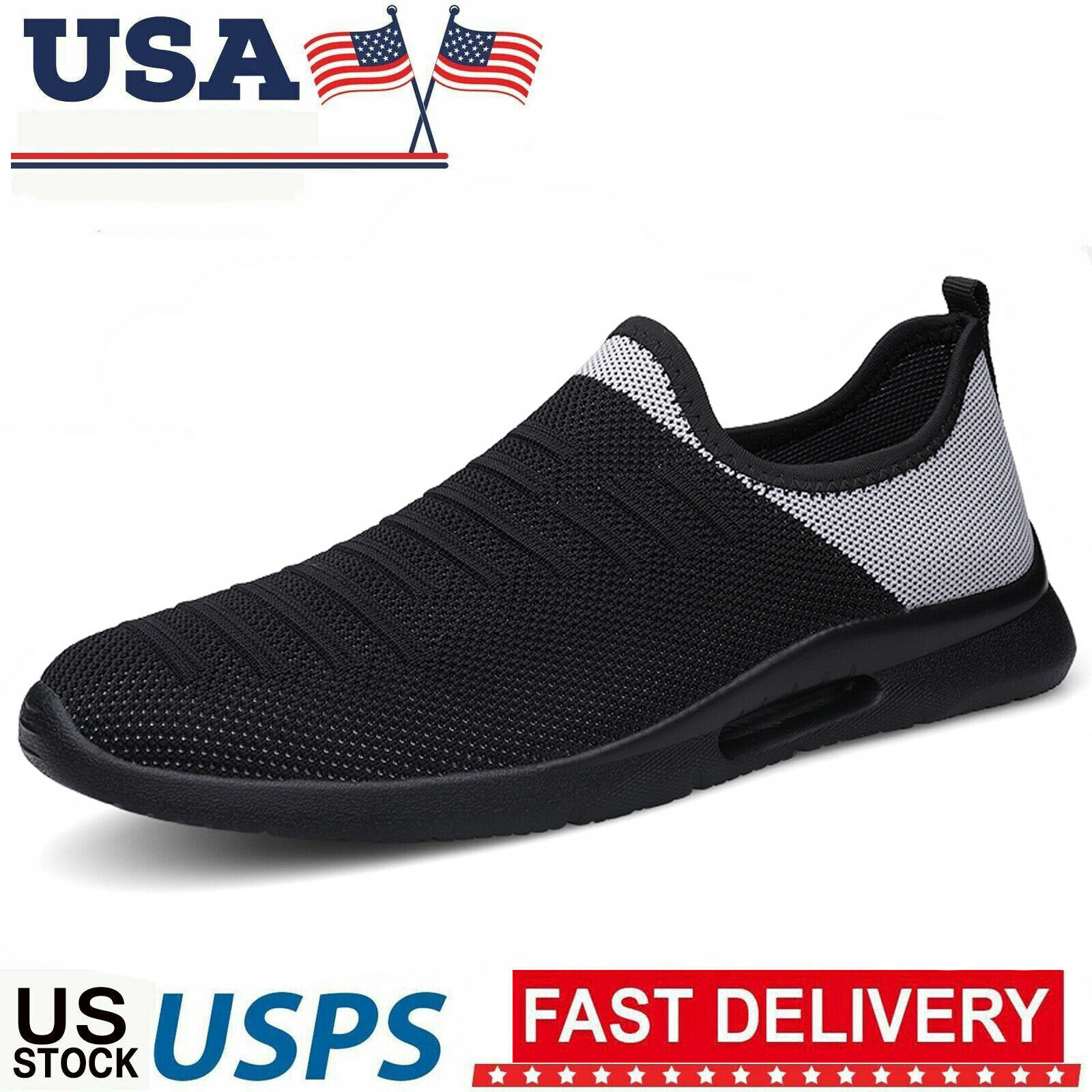 Men's Casual Slip on Shoes Lightweight Running Athletic Sport Tennis Sneakers US