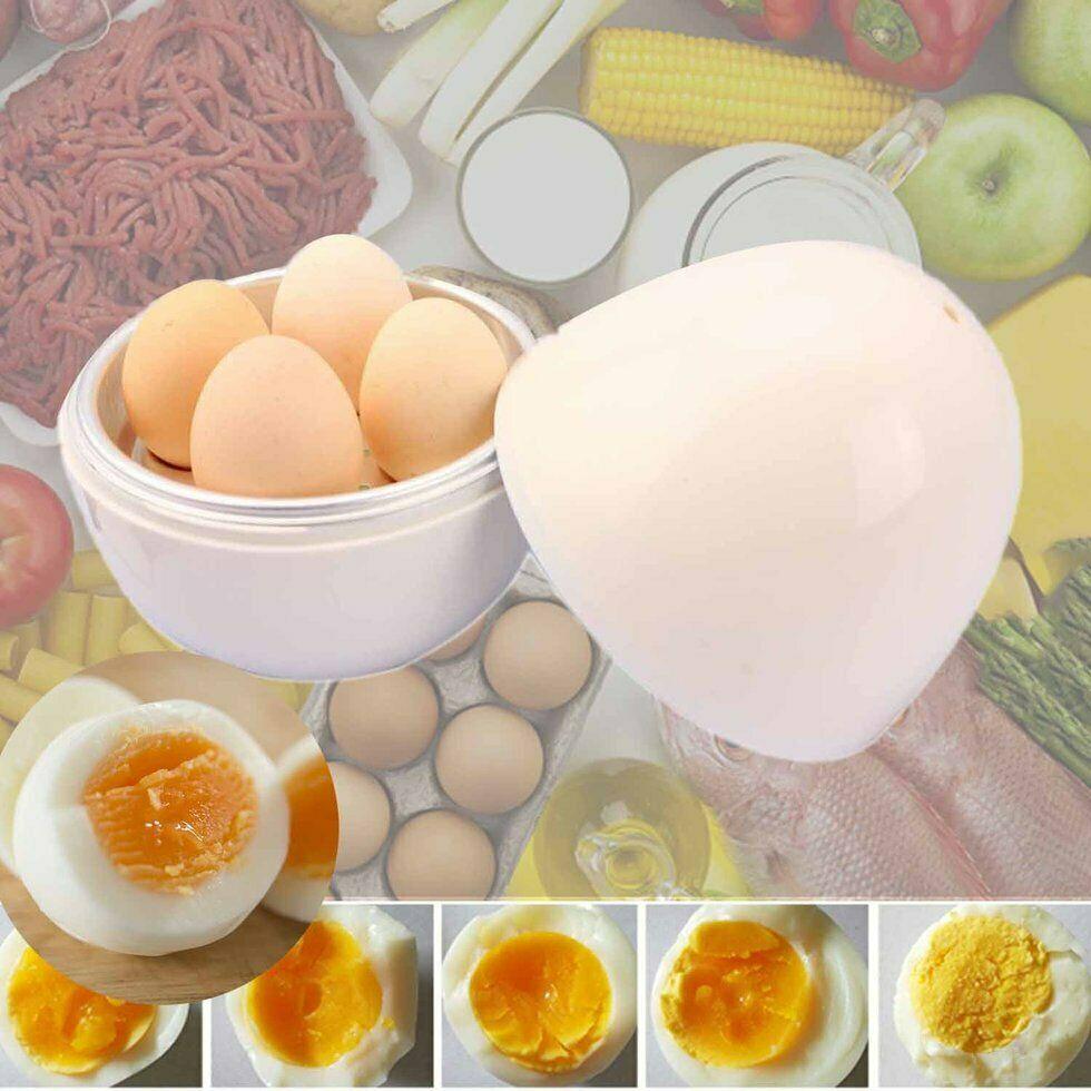 Microwave Egg Cooker Portable 4 Eggs Boiler Poacher Home Kitchen Gadget Tool KW