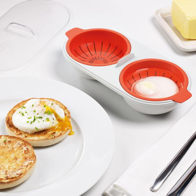 Microwave Egg Poacher Food Grade Cookware Double Cup Egg Boiler  Kitchen Steamed