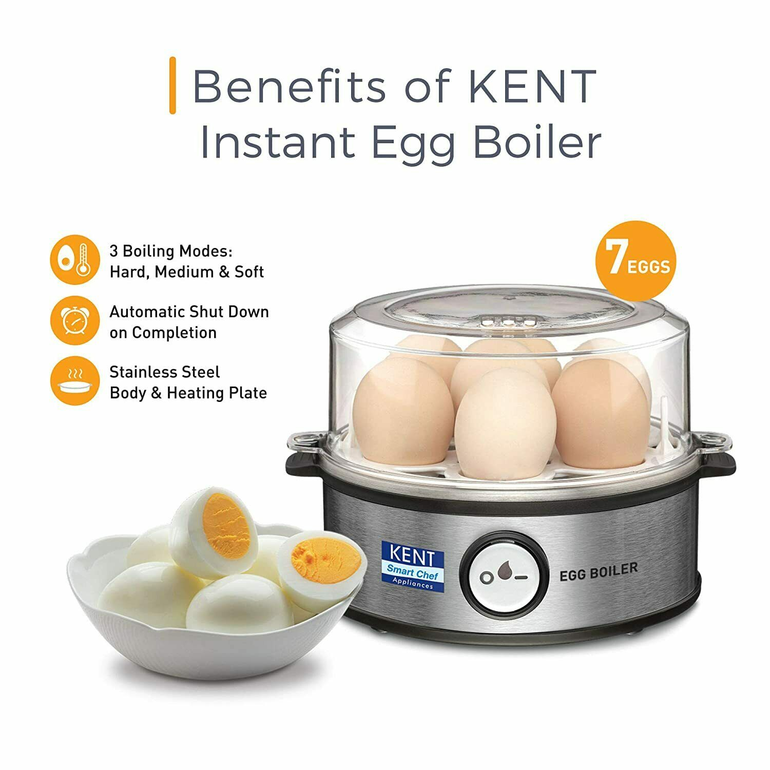 Kent Instant Egg Boiler 360-Watt (Transparent and Silver Grey Free Shipping