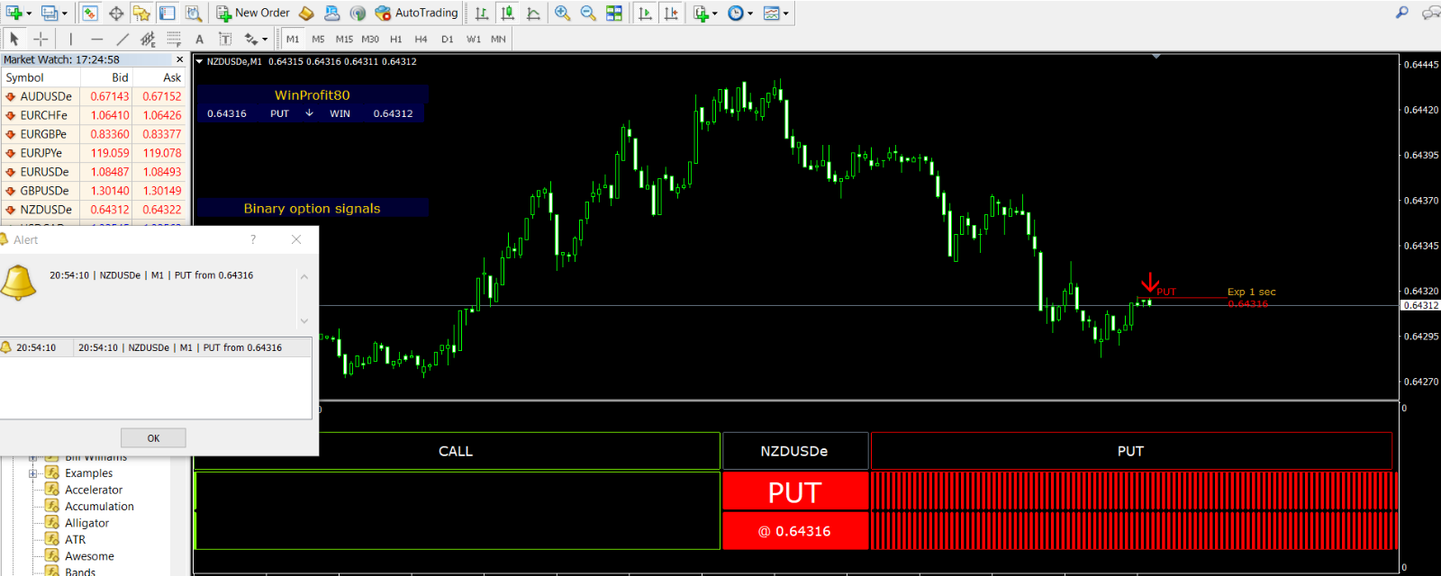 MT4 indicator WINPROFIT80%  for binary options forex trading total system