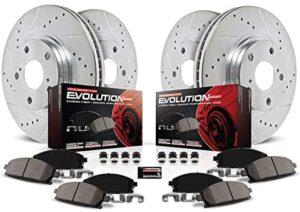 Power Stop K4442 Front & Rear Brake Kit with Drilled/Slotted Brake Rotors and Z23 Evolution Ceramic Brake Pads