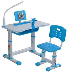 JSPOYOU Kids Desk and Chair Set, Height Adjustable, Study Work Table with LED Light/Reading Board/Drawer(80 x 49cm)
