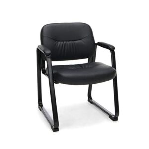 OFM Essentials Collection Bonded Leather Executive Side Chair with Sled Base, in Black