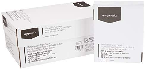 AmazonBasics Multipurpose Copy Printer Paper – White, 8.5 x 11 Inches, 8 Ream Case (4,000 Sheets)