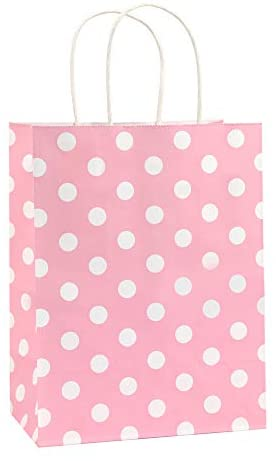 Gift Bags 25Pcs 8×4.75×10.5 Inches BagDream Shopping Bags, Paper Bags, Kraft Bags, Retail Bags, Holiday Party Bags, Pink Dot Paper Bags with Handles, Pink Paper Gift Bags
