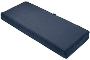 Classic Accessories Montlake Water-Resistant 48 x 18 x 3 Inch Patio Bench/Settee Cushion, Heather Indigo Blue