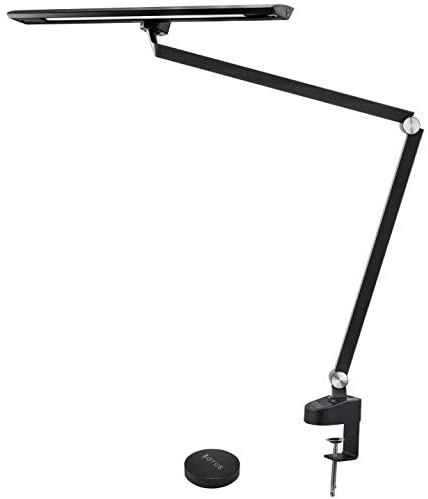 OTUS Architect Desk Lamp Clamp – 12W Bright Eye-Care Tall Task Light Office – Adjustable Swing Arm Drafting Metal Table Lighting – Memory Function – Stepless Dimmer – 5 Color Modes – Remote Control