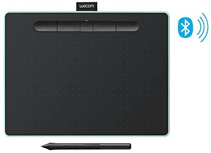 Wacom Intuos Wireless Graphic Tablet with 3 Bonus Software Included, 10.4″ X 7.8″, Black with Pistachio Accent (CTL6100WLE0),Medium