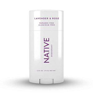 Native Deodorant – Natural Deodorant for Women and Men – Vegan, Gluten Free, Cruelty Free, Contains Probiotics – Aluminum Free, Free of Parabens and Sulfates – Lavender & Rose