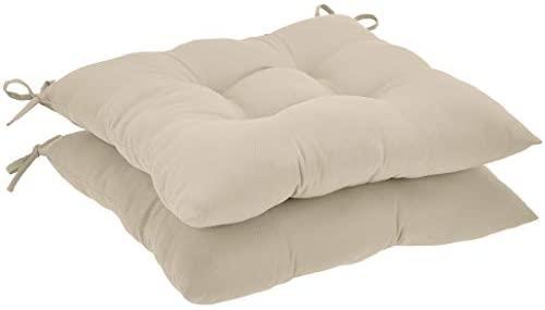 AmazonBasics Tufted Outdoor Square Seat Patio Cushion – Pack of 2, Khaki