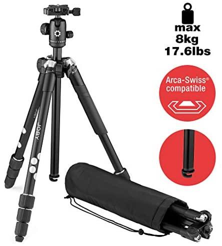 JOBY RangePod Smart, Aluminium Traveller Camera/SmartphoneTripod with Ball Head, Universal Smartphone Clamp and Carrying Bag, for CSC,DSLR, Mirrorless, Mobile Phones, Black