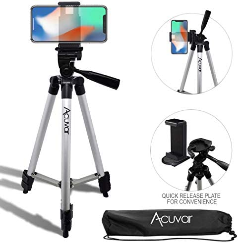 Acuvar 50″ Inch Aluminum Camera Tripod with Quick Release + Universal Smartphone Mount for iPhone 11 Pro, 11 Pro Max, Xs, SE 2, Xr, X, 8, 8+, Pixel 3, XL, Android Note 10, S10, S20 & More Smartphones