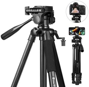 58 inch Camera Tripod, GooFoto 6.6lb/3KG Load Portable Lightweight Aluminum Travel Tripod for iPhone/Phone/Nikon/DSLR/Sony/Canon with Carry Bag & Phone Clip