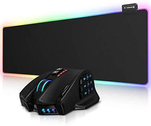 RGB Gaming Mouse Pad and Venus Pro RGB MMO Wireless Gaming Mouse, UtechSmart Large Extended Soft Led Mouse Pad with 14 Lighting Modes, 16,000 DPI Optical Sensor, 2.4 GHz Transmission Technology